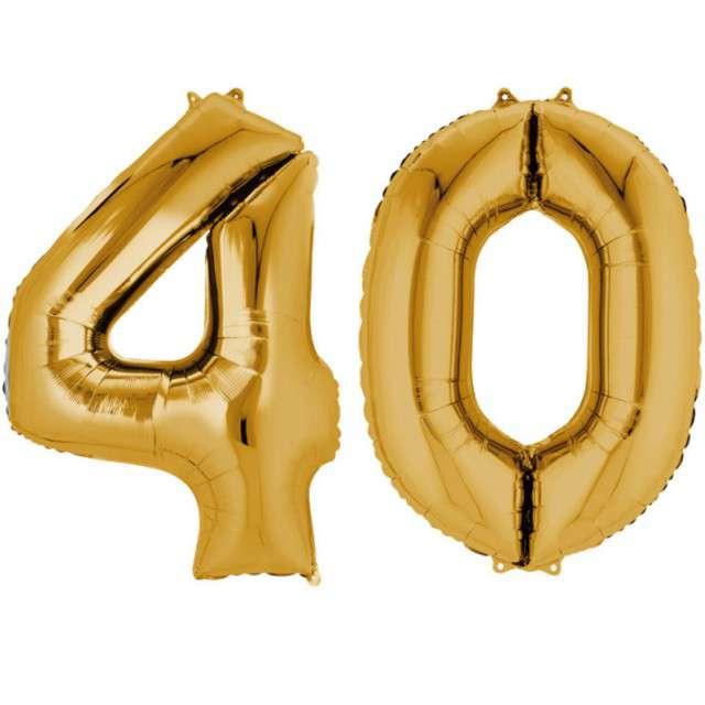 """Balon foliowy cyfra 4+0, """"40 Urodziny"""", 34"""", AMSCAN, złota"""