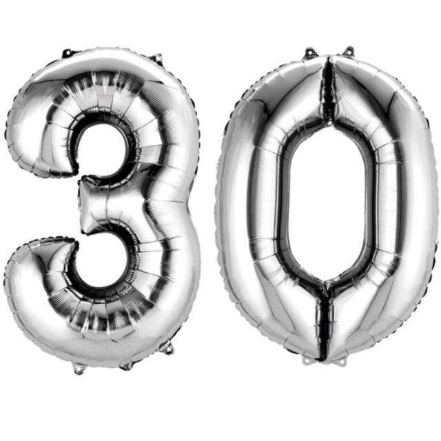 """Balon foliowy cyfra 3+0, """"30 Urodziny"""", 34"""", AMSCAN, srebrna"""