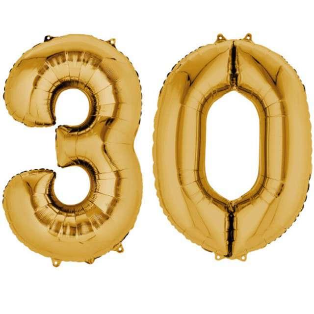 """Balon foliowy cyfra 3+0, """"30 Urodziny"""", 34"""", AMSCAN, złota"""