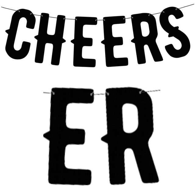 "Baner ""Cheers"", czarny, PartyDeco, 50 cm"