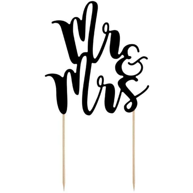 """Dekoracja na tort papierowa """"Mr & Mrs"""", PartyDeco, 25,5 cm"""