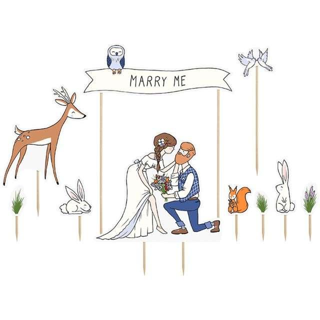 "Dekoracja na tort ""Marry Me"", PartyDeco, 7-23 cm, 10 szt"