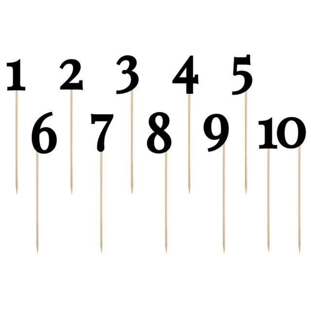 """Szpilki drewniane """"Numery"""", czarne, PartyDeco, 26 cm, 11 szt"""