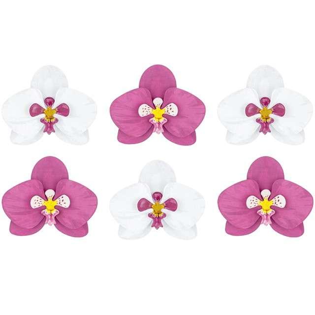 """Dekoracja """"Kwiat Orchidea - Aloha"""", papierowa, mix, PartyDeco, 6 szt"""