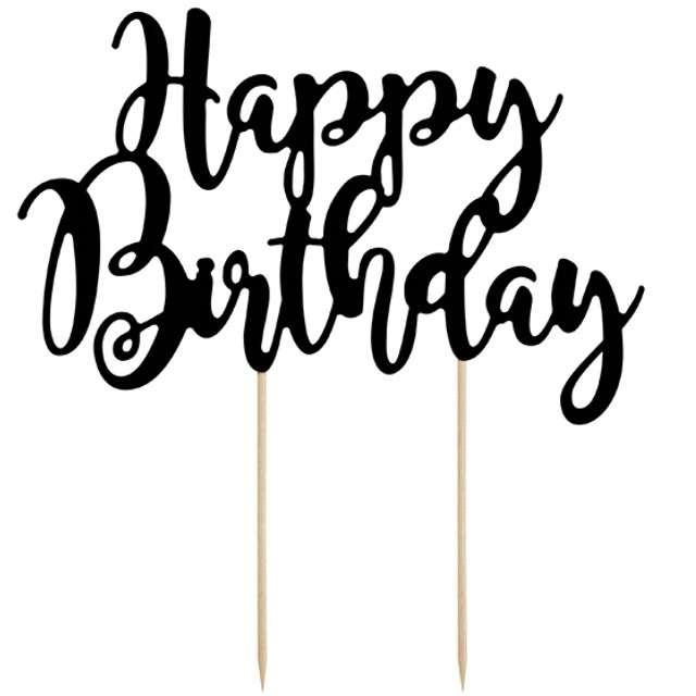 """Dekoracja na tort """"Happy Birthday"""", czarna, PartyDeco, 22,5 cm"""
