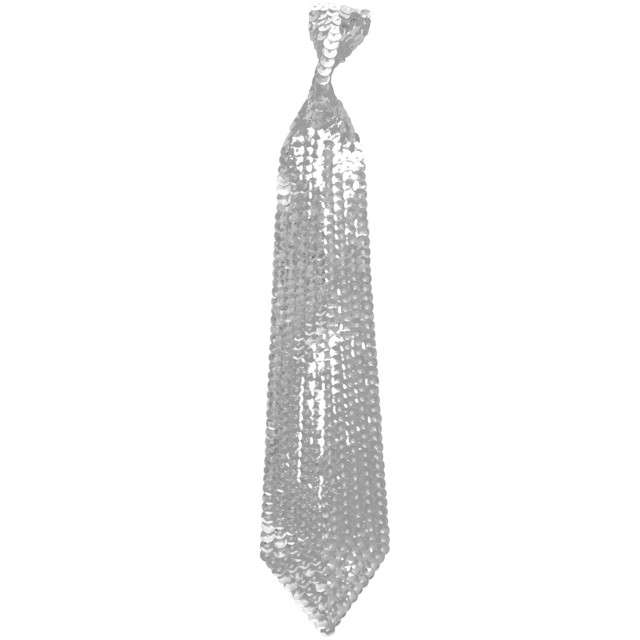 Krawat cekinowy, srebrny, ARPEX
