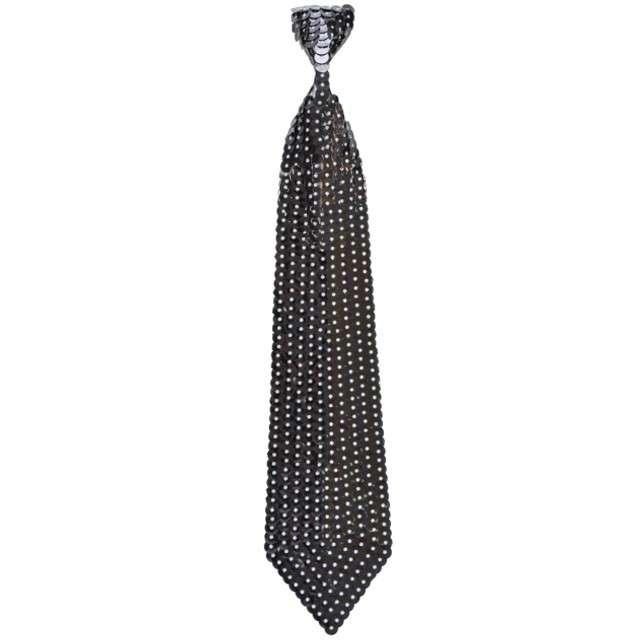 Krawat cekinowy, czarny, ARPEX