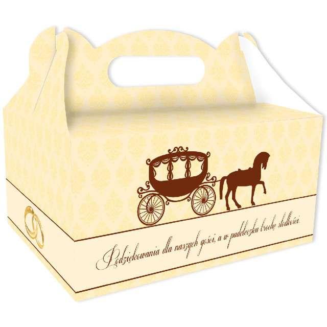 """Pudełko na ciasto """"Wesele Słodkie podziękowania"""", eBal, kremowe, 10 szt"""