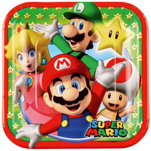 """Talerzyki papierowe """"Super Mario"""", AMSCAN, 18 cm, 8 szt"""