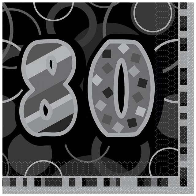 "Serwetki ""80 Glitz Black"", 33 cm, UNIQUE, 16 szt"