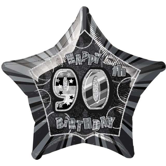 """Balon foliowy """"Urodziny 90"""", czarny, UNIQUE, 20"""" STR"""