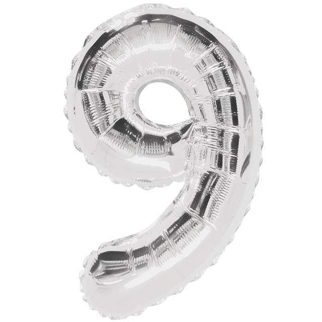"""Balon foliowy cyfra 9, srebrny, UNIQUE, 34"""""""