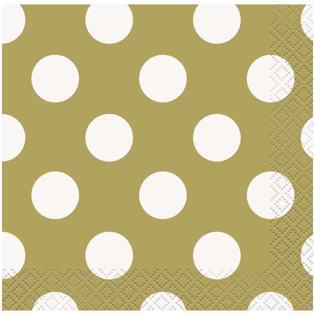 """Serwetki """"Kropki"""", złote, UNIQUE, 25 cm, 16 szt"""