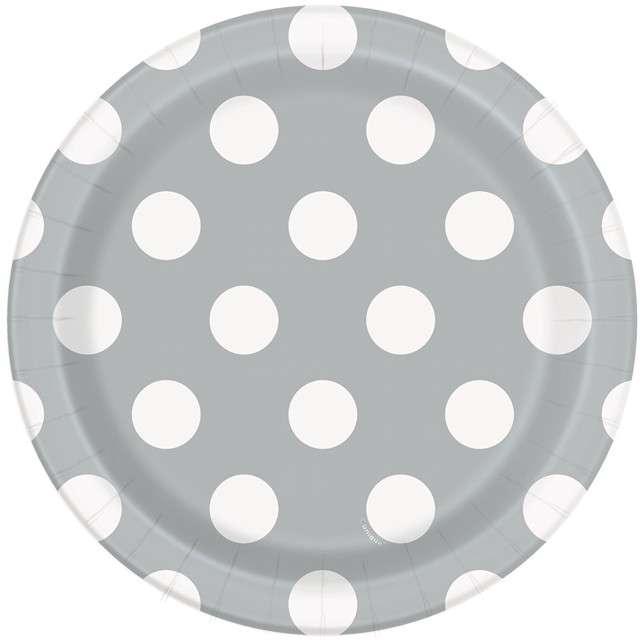 """Talerzyki papierowe """"Kropki"""", srebrne, 18 cm, 8 szt"""