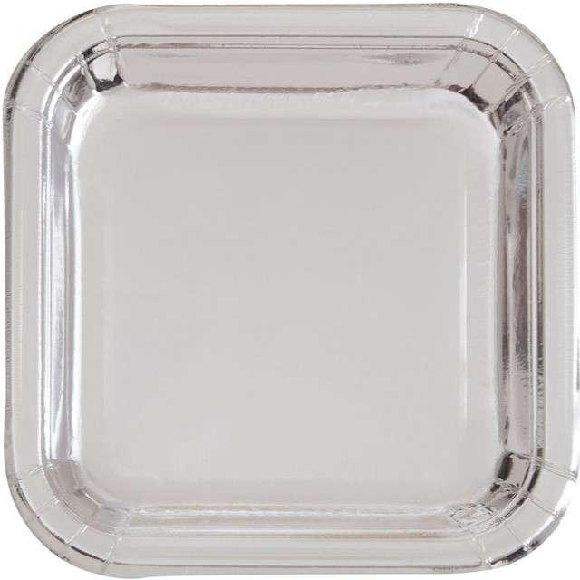 """Talerzyki papierowe """"Kwadrat Metalic"""", srebrne metaliczne, 18 cm, 8 szt"""