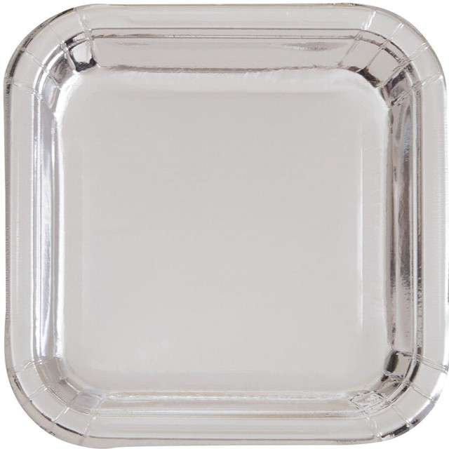 """Talerzyki papierowe """"Kwadrat Metalic"""", srebrne metaliczne, 23 cm, 8 szt"""