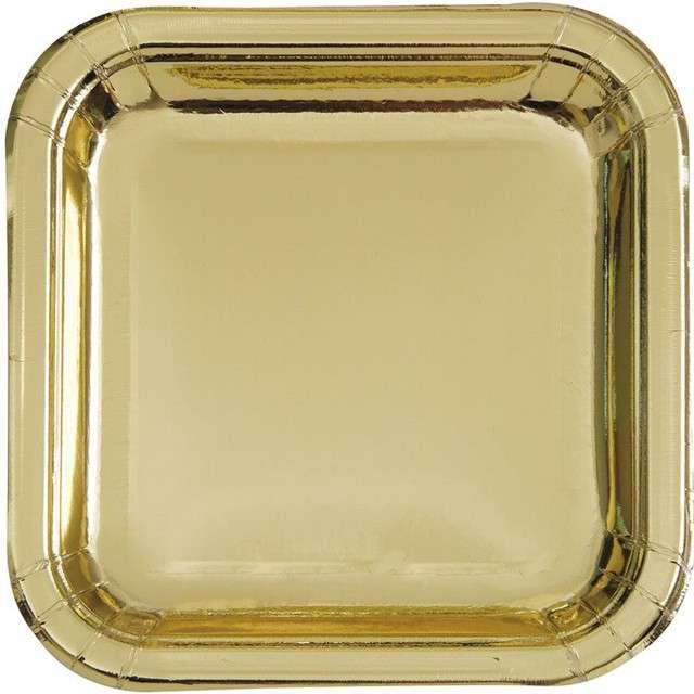 """Talerzyki papierowe """"Kwadrat Metalic"""", złote metaliczne, 23 cm, 8 szt"""