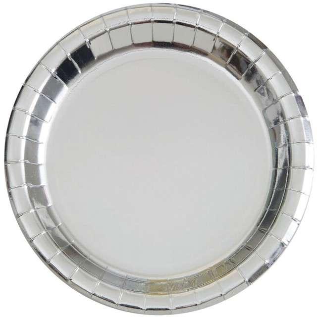"""Talerzyki papierowe """"Premium Metalic"""", UNIQUE, srebrne metaliczne, 23 cm, 8 szt"""