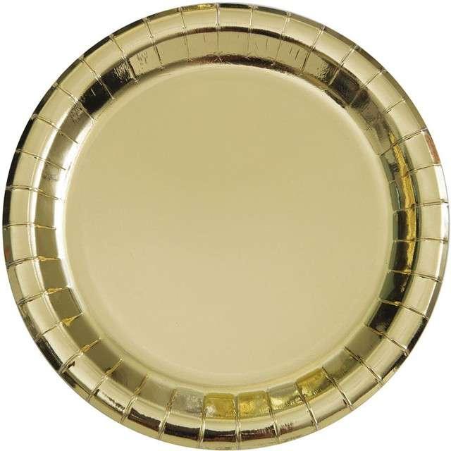 """Talerzyki papierowe """"Premium Metalic"""", UNIQUE, złote metaliczne, 23 cm, 8 szt"""