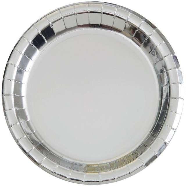 """Talerzyki papierowe """"Premium Metalic"""", UNIQUE, srebrne metaliczne, 18 cm, 8 szt"""