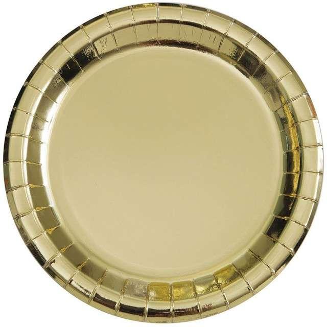 """Talerzyki papierowe """"Premium Metalic"""", UNIQUE, złote metaliczne, 18 cm, 8 szt"""