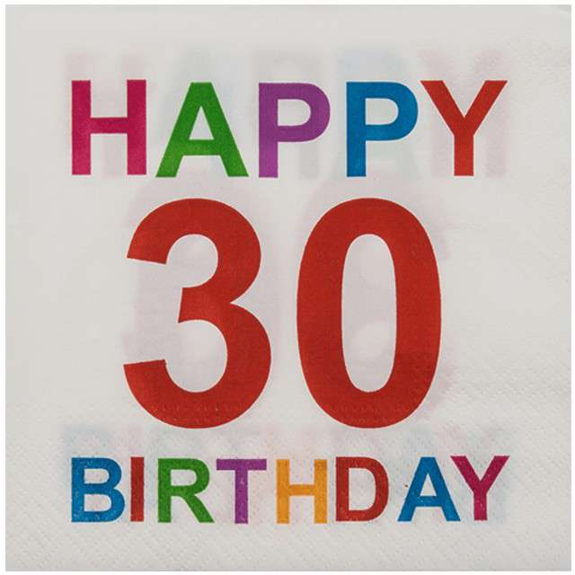 "Serwetki ""30 - Happy Birthday"", OOTB, 33 cm, 20 szt"
