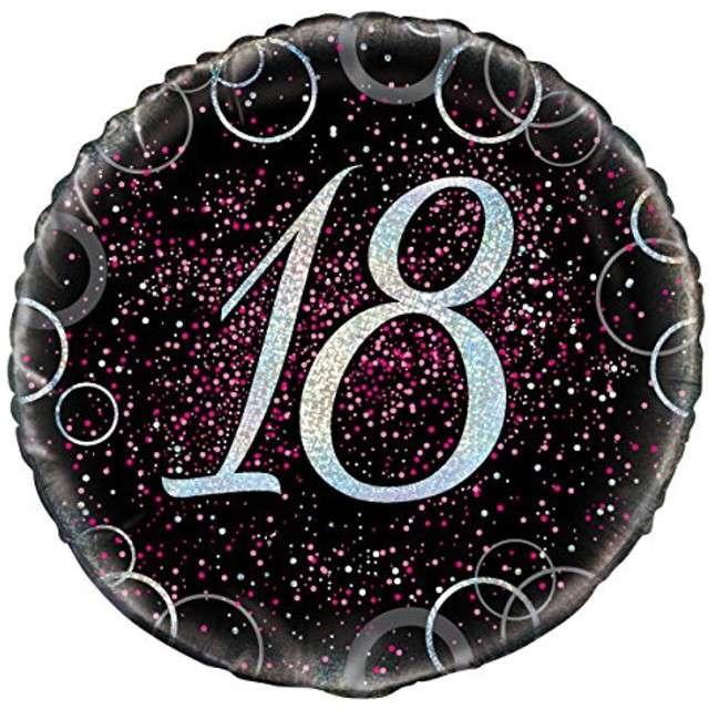 """Balon foliowy """"Urodziny 18 - Glitz"""", UNIQUE, różowy, 18"""" CIR"""
