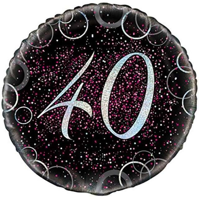 """Balon foliowy """"Urodziny 40 - Glitz"""", UNIQUE, różowy, 18"""" CIR"""