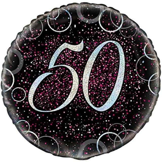 """Balon foliowy """"Urodziny 50 - Glitz"""", UNIQUE, różowy, 18"""" CIR"""