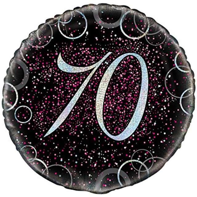 """Balon foliowy """"Urodziny 70 - Glitz"""", UNIQUE, różowy, 18"""" CIR"""