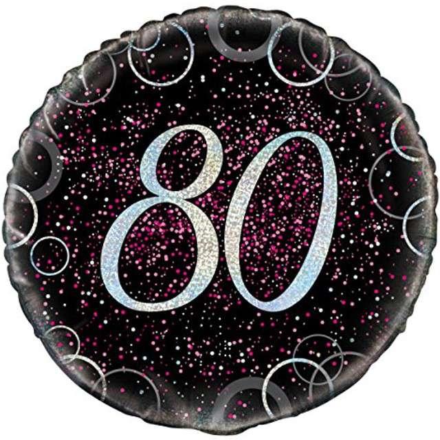"""Balon foliowy """"Urodziny 80 - Glitz"""", UNIQUE, różowy, 18"""" CIR"""