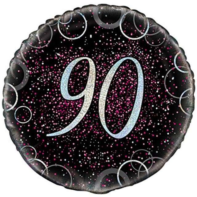 """Balon foliowy """"Urodziny 90 - Glitz"""", UNIQUE, różowy, 18"""" CIR"""