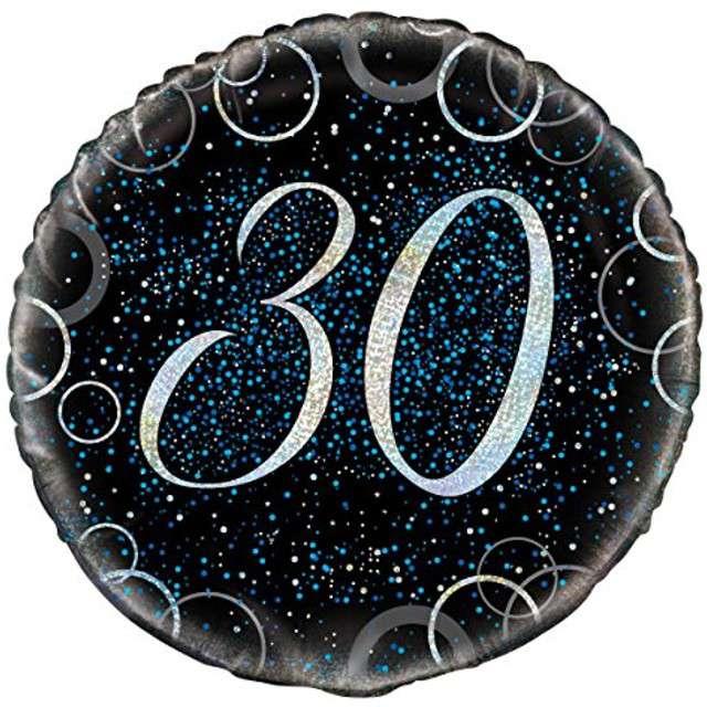 """Balon foliowy """"Urodziny 30 - Glitz"""", UNIQUE, niebieski, 18"""" CIR"""