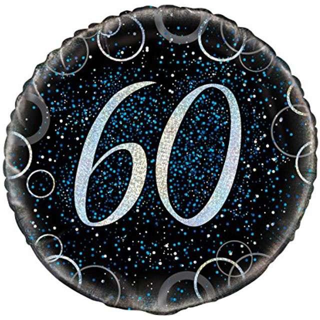 """Balon foliowy """"Urodziny 60 - Glitz"""", UNIQUE, niebieski, 18"""" CIR"""