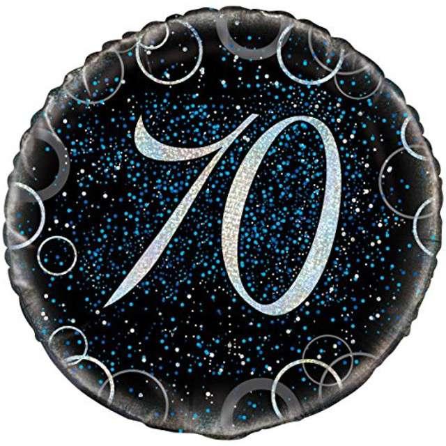 """Balon foliowy """"Urodziny 70 - Glitz"""", UNIQUE, niebieski, 18"""" CIR"""