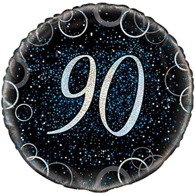 """Balon foliowy """"Urodziny 90 - Glitz"""", UNIQUE, niebieski, 18"""" CIR"""