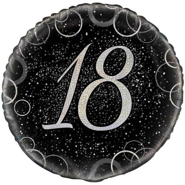 """Balon foliowy """"Urodziny 18 - Glitz"""", UNIQUE, srebrny, 18"""" CIR"""