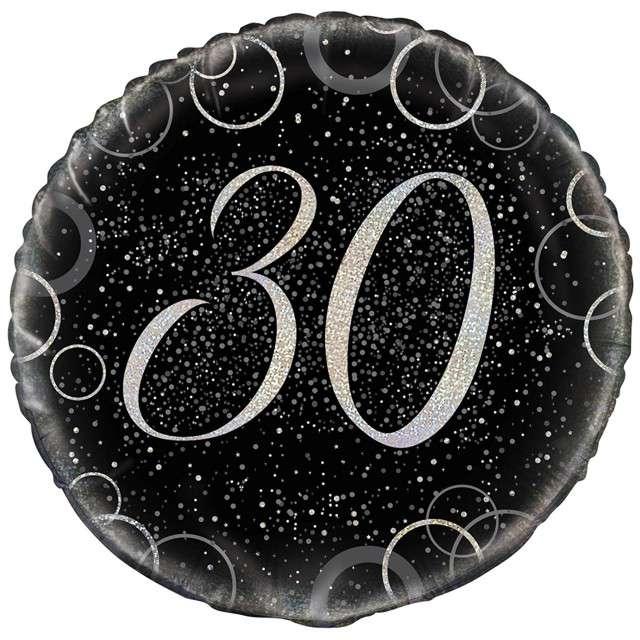 """Balon foliowy """"Urodziny 30 - Glitz"""", UNIQUE, srebrny, 18"""" CIR"""