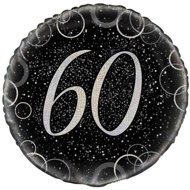 """Balon foliowy """"Urodziny 60 - Glitz"""", UNIQUE, srebrny, 18"""" CIR"""