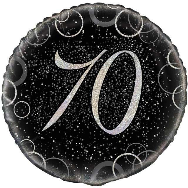 """Balon foliowy """"Urodziny 70 - Glitz"""", UNIQUE, srebrny, 18"""" CIR"""
