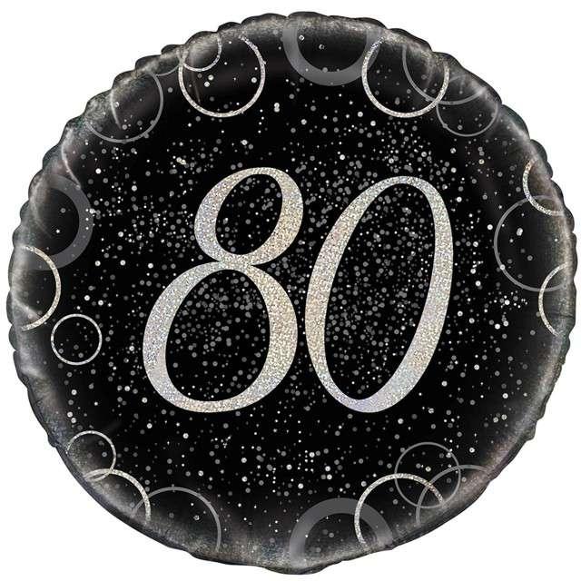 """Balon foliowy """"Urodziny 80 - Glitz"""", UNIQUE, srebrny, 18"""" CIR"""