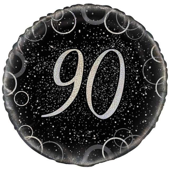 """Balon foliowy """"Urodziny 90 - Glitz"""", UNIQUE, srebrny, 18"""" CIR"""
