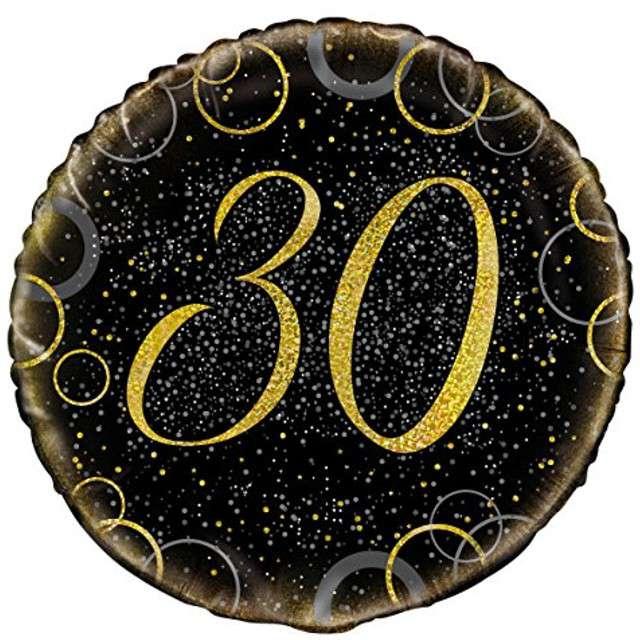 """Balon foliowy """"Urodziny 30 - Glitz"""", UNIQUE, złoty, 18"""" CIR"""