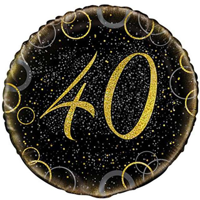 """Balon foliowy """"Urodziny 40 - Glitz"""", UNIQUE, złoty, 18"""" CIR"""