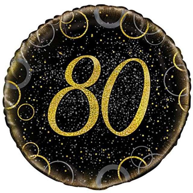 """Balon foliowy """"Urodziny 80 - Glitz"""", UNIQUE, złoty, 18"""" CIR"""