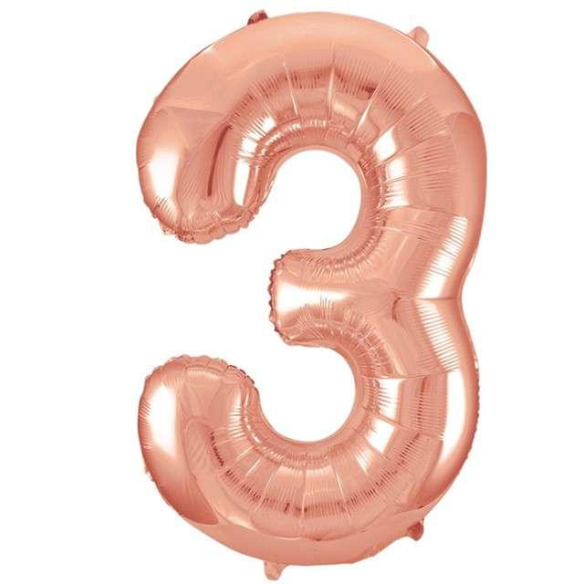"""Balon foliowy cyfra 3, 34"""", UNIQUE, szampańska"""