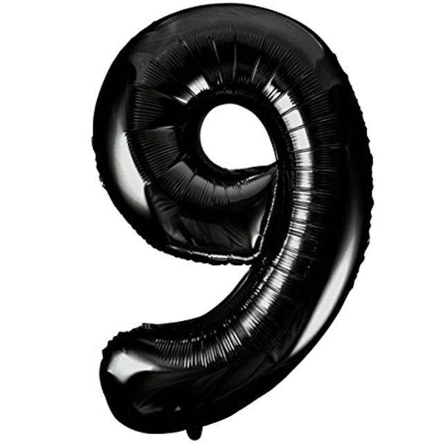 "Balon foliowy cyfra 9, 34"", UNIQUE, czarna"