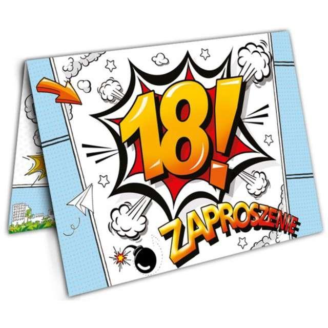 """Zaproszenia urodzinowe """"Urodziny 18 Cartoon"""", 10 szt"""