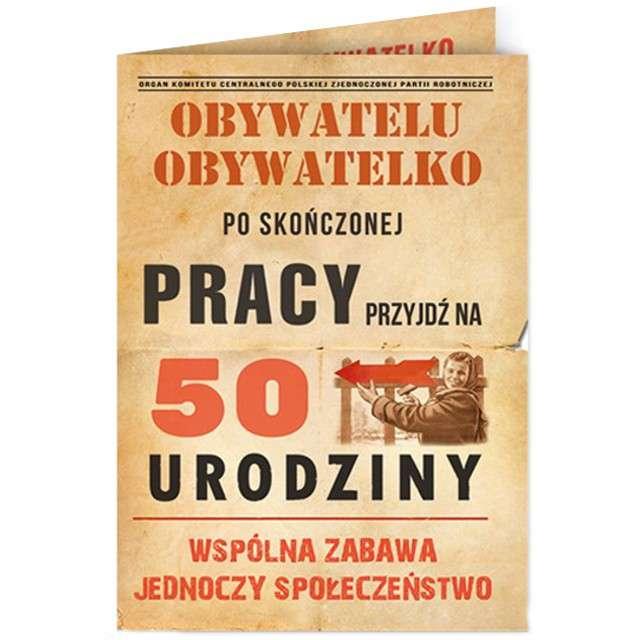 """Zaproszenia urodzinowe """"Obywatelu - 50 Urodziny"""", 10 szt"""