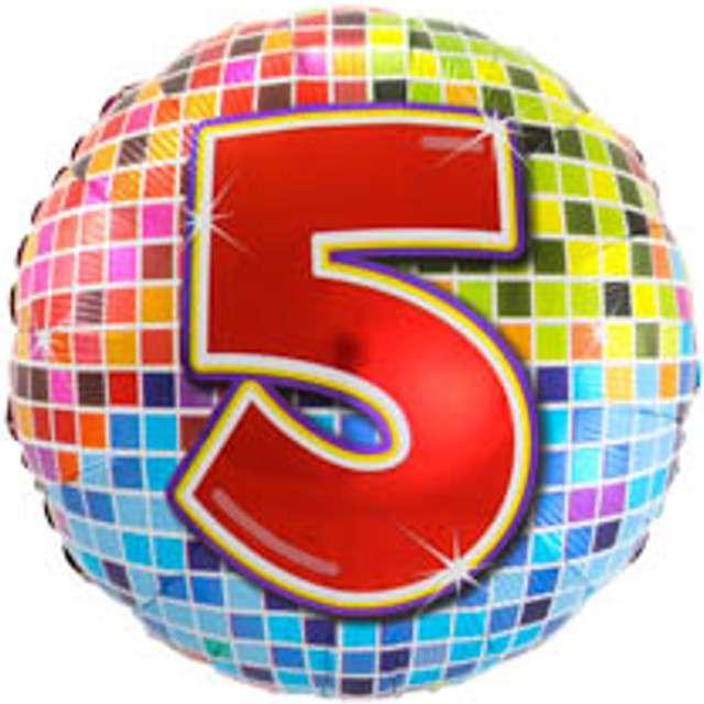"""Balon foliowy """"Kula dyskotekowa - liczba 5"""", FOLAT, 18"""" RND"""